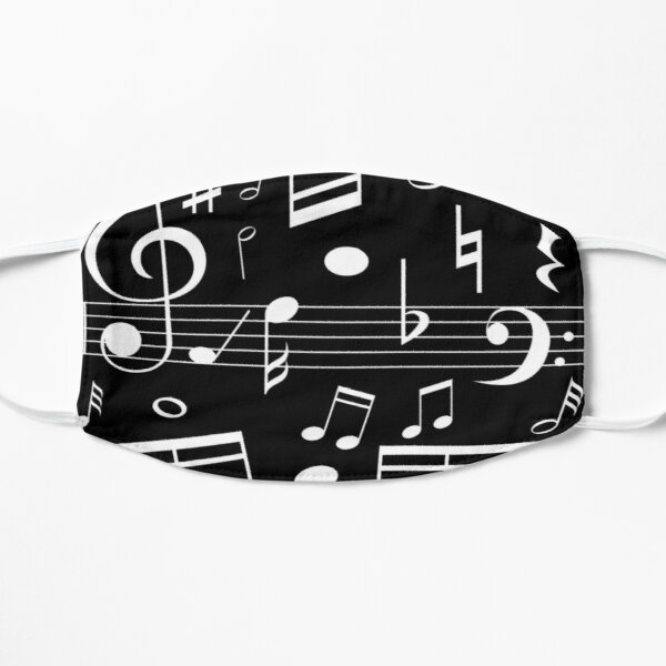 Dancing Music Notes - Black and White Mask
