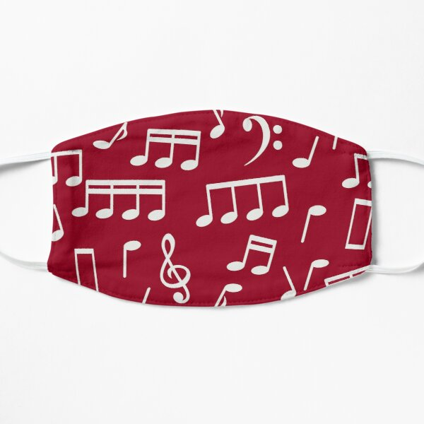 White Music Notes on Red Background Mask