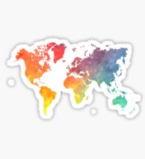 World map stickers redbubble map of the world colored sticker gumiabroncs Choice Image