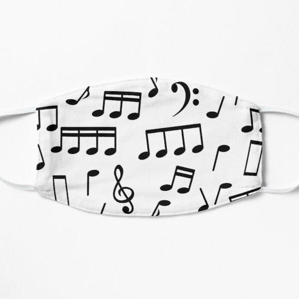 Black Music Notes on White Background Mask