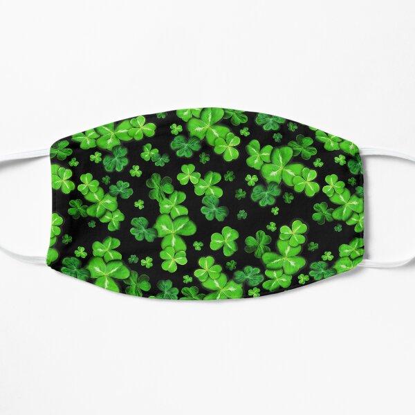 Green Clover Lucky Irish Shamrocks over black background Mask