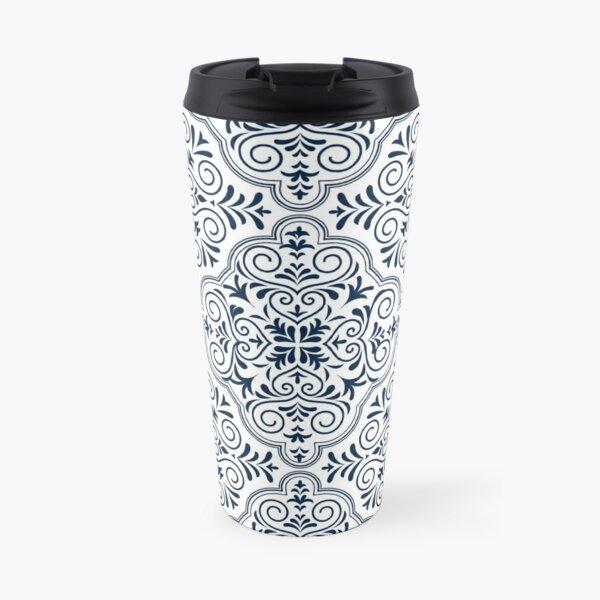 Midnight Blue Geometric Pattern Floral Moroccan Motive Travel Mug