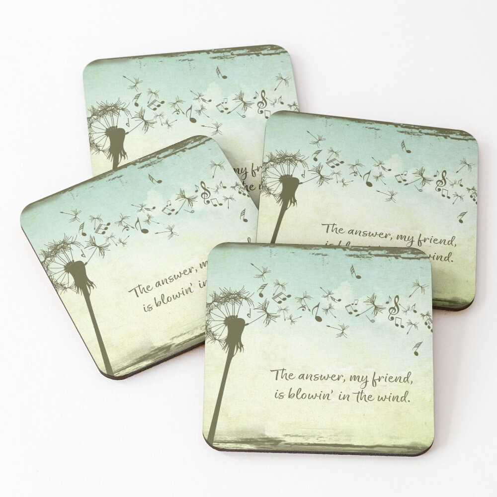 The Answer my Friend is Blowin in the Wind Coasters (Set of 4)