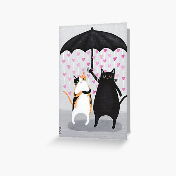 Love Rains Down Cats Greeting Card
