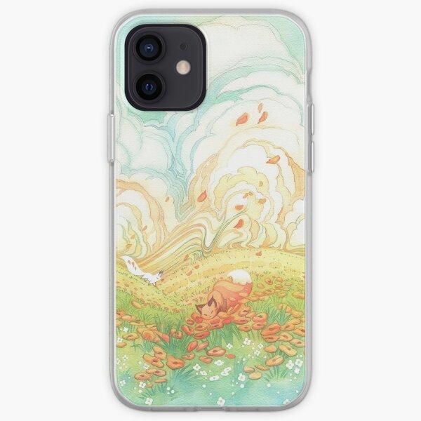 Meadow Frolic Watercolor Fox Kitsune Pattern iPhone Soft Case