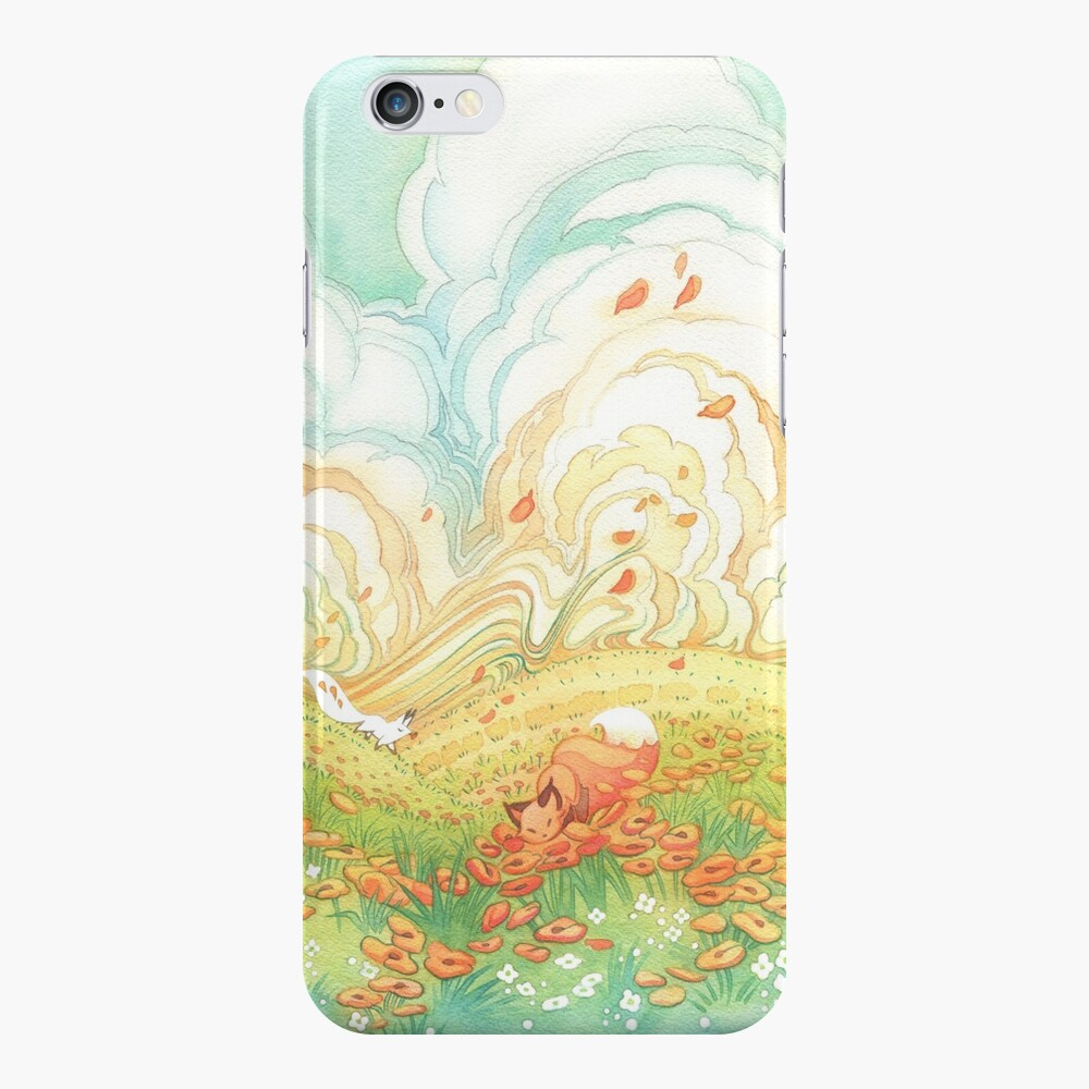 Meadow Frolic Watercolor Fox Kitsune Pattern iPhone Case & Cover