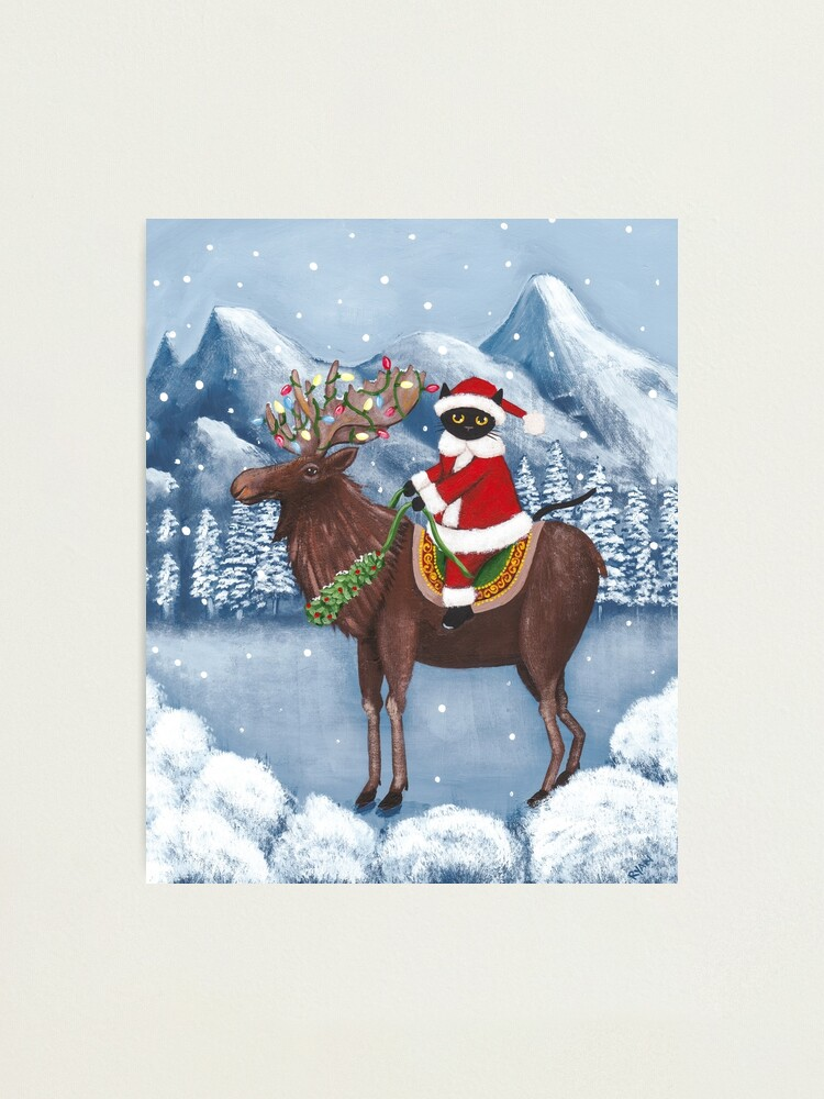 Alternate view of Merry Christmas Cat and Moose  Photographic Print