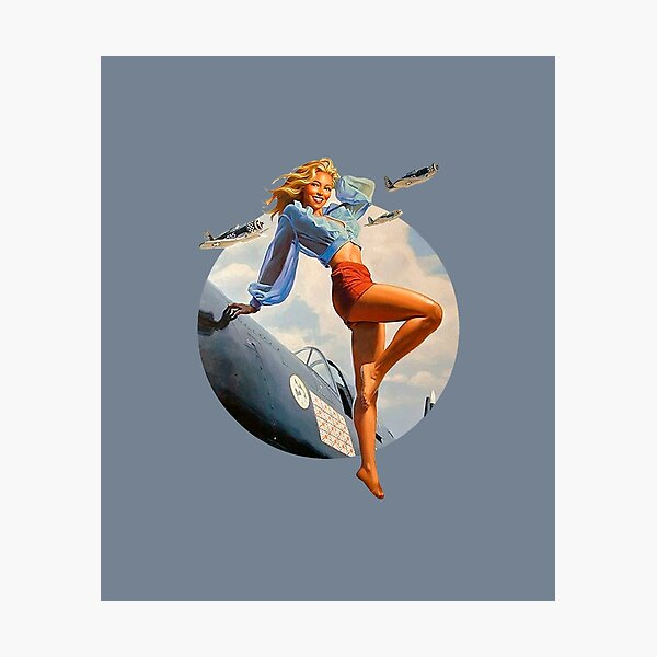 Pin-up blonde. Air force in WWII. 40's Photographic Print