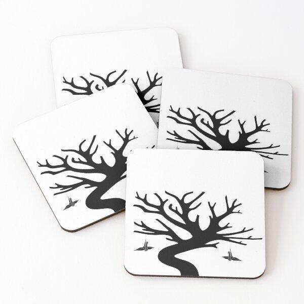Senbazuru Tree by The Ethyr & Medialia Gallery (Black) Coasters (Set of 4)