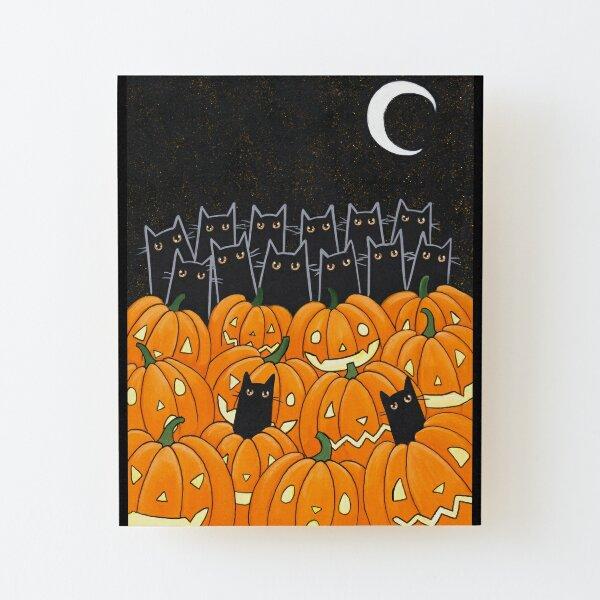 Black Cats & Jack-o-Lanterns Wood Mounted Print