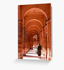 A lady in the Archways of Paris, France Greeting Card