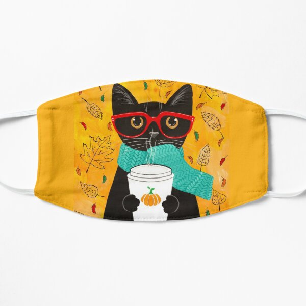Autumn Pumpkin Coffee Cat Mask