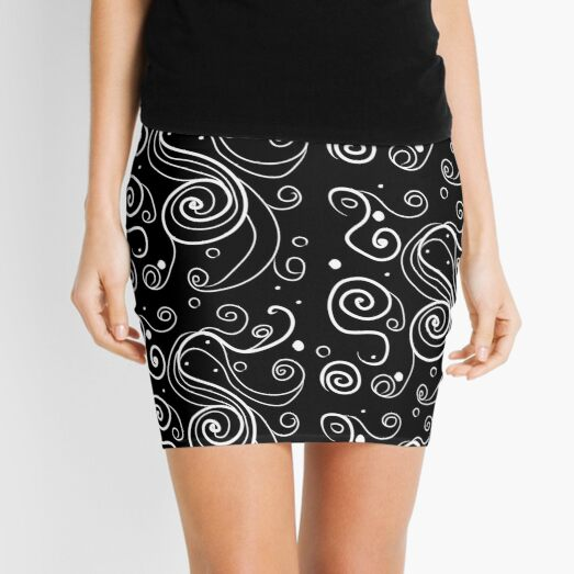 Beautiful ornament pattern curlicues, circles Mini Skirt