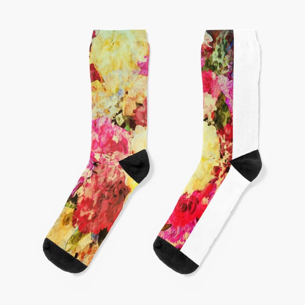 Springtime Bouquet Art - Floral Gift Socks