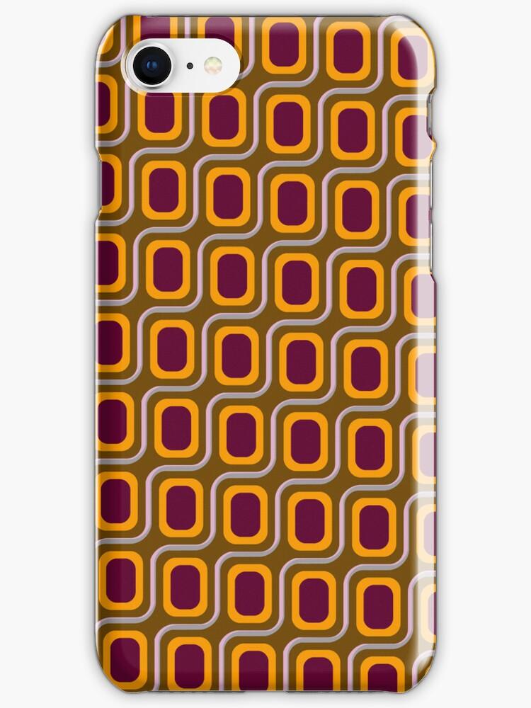 That 70's Design - Brown Grey Pink on Maroon Background by Bryan Freeman