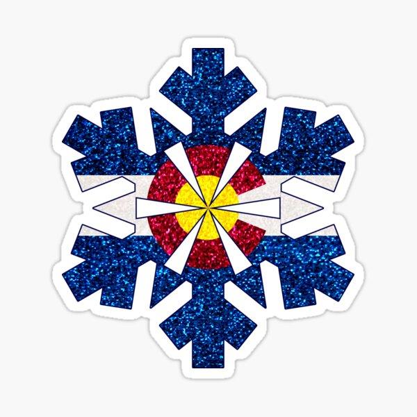 Glitter Colorado flag snowflake Sticker