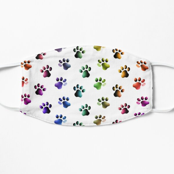 Animal Paw Prints Cats Dogs Rainbow Colors Mask