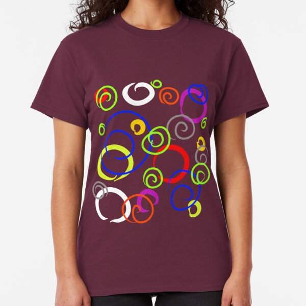 Fun beautiful color bright ornament pattern curlicues, circles Classic T-Shirt