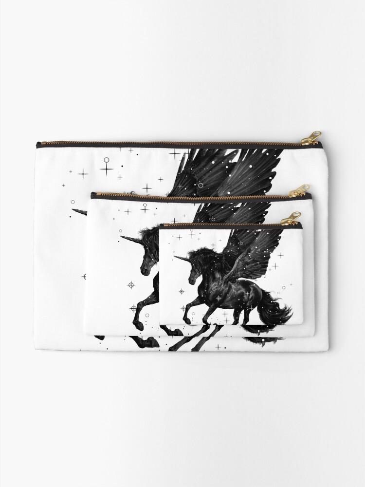 Alternate view of Black Unicorn Zipper Pouch