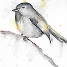 Watercolor Chickadee by GinaBAhrens