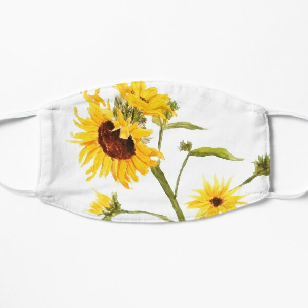 Yellow sunflower watercolor painting  Flat Mask