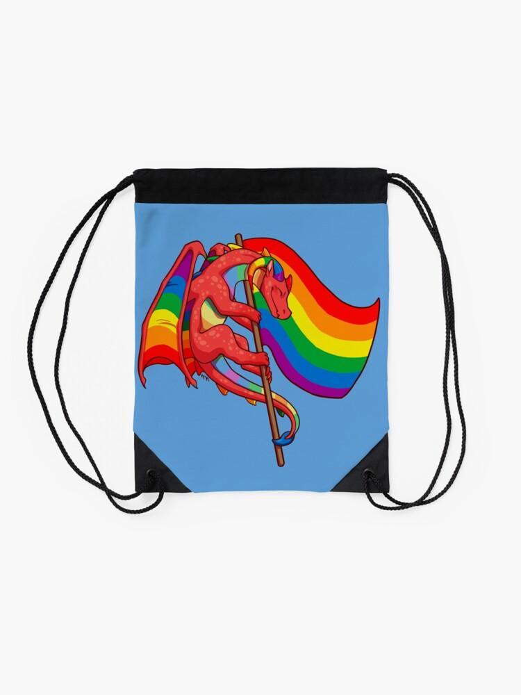 Alternate view of Gay Pride Flag Dragon (3rd Edition) Drawstring Bag