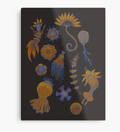 Sea Ballet in Psychedelic Colors, more apologies to Ernst Haeckel Metal Print