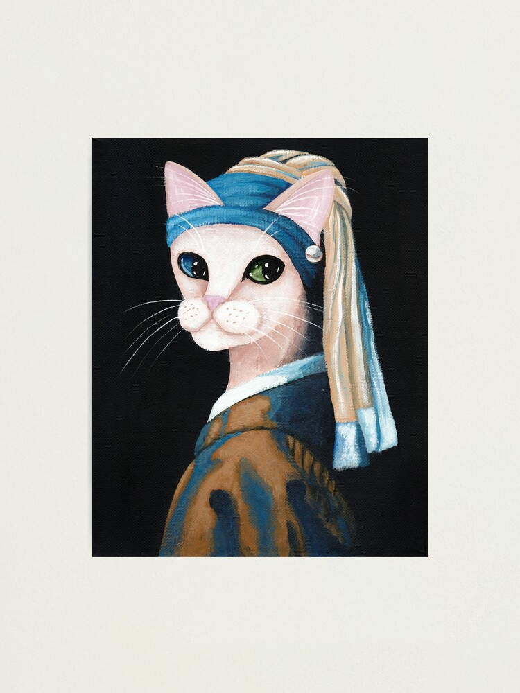 Alternate view of The Cat With the Pearl Earring Photographic Print