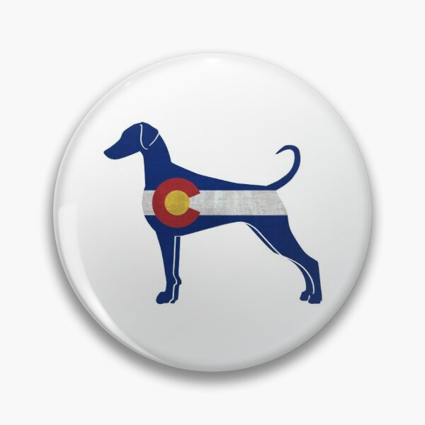 Doberman Pinscher Dog Breed Silhouette Filled with Colorado Flag Pin