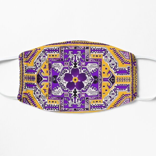 Forget me not flower with Armenian folk art Flat Mask
