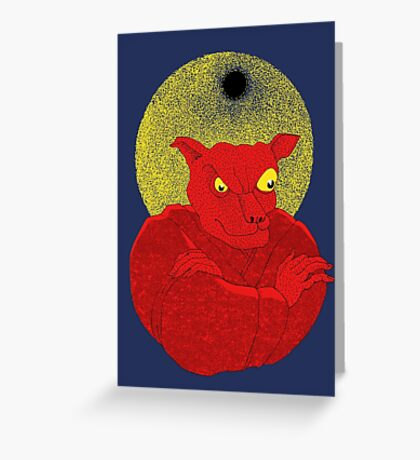 Red Cat Demon up to no good under a bad moon Greeting Card