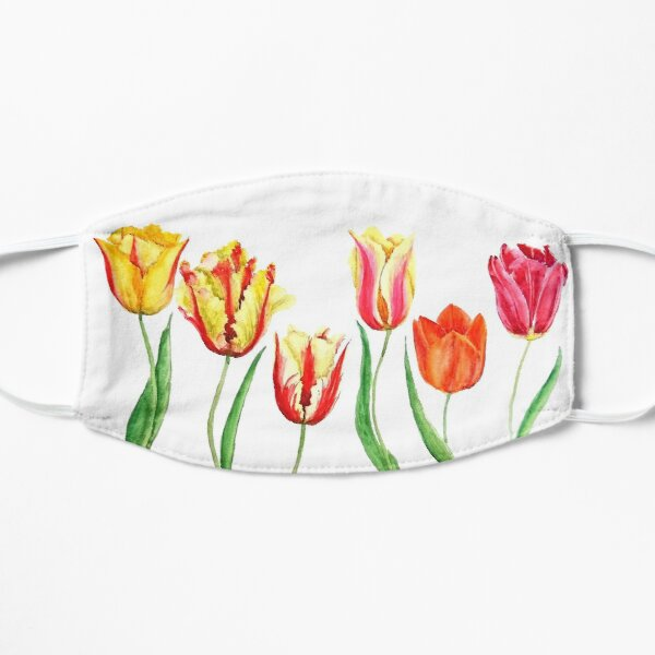 colorful tulips flower watercolor painting  Mask