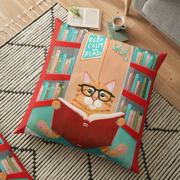 The Library Cat Floor Pillow