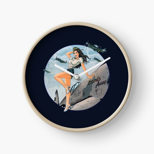 Pin-up WWII Air Force Vintage Clock