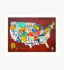 License Plate Map of The United States 2012 Red Version Art Print