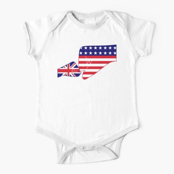 UK & USA Baby Fist Bump Patriot Flag Series  Short Sleeve Baby One-Piece