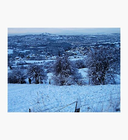 Snowy Scenes To The Castle Upon The Hill! Photographic Print