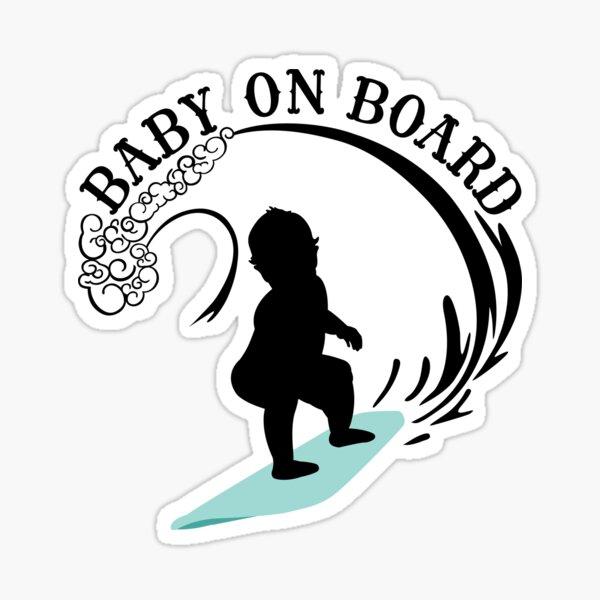 Surfing Boy Baby On Board - Dark Sticker