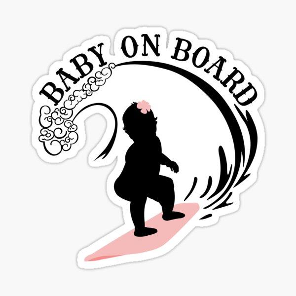 Surfing Girl Baby On Board - Dark Sticker