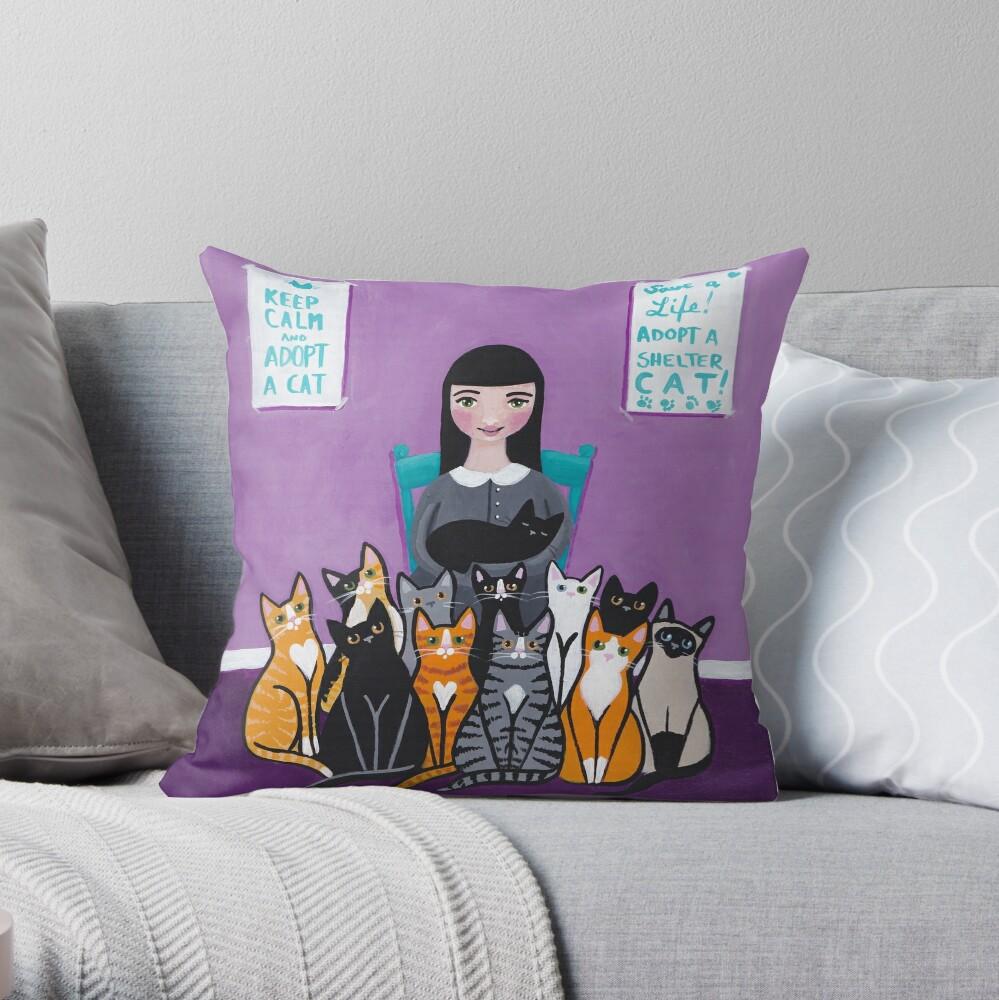 Adopt a Shelter Cat Throw Pillow