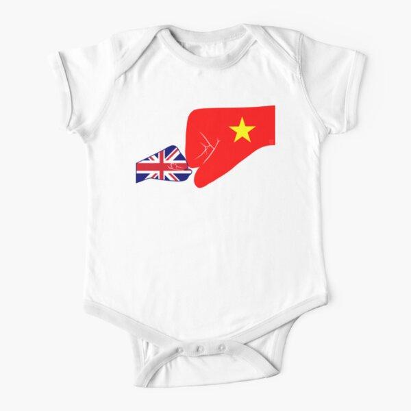 UK & Vietnam Baby Fist Bump Patriot Flag Series  Short Sleeve Baby One-Piece