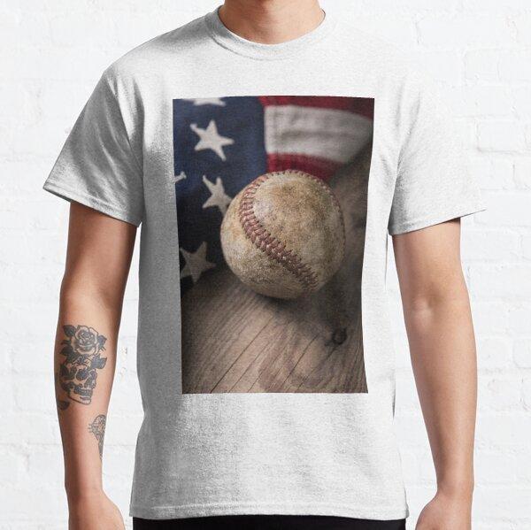 Vintage Baseball on American Flag Classic T-Shirt