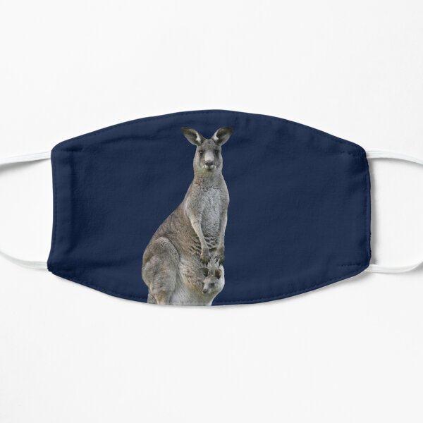 Kangaroo with joey looking out of pouch 4 Mask