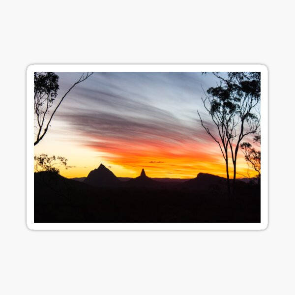 Mountains Sunset Photography (White) Sticker