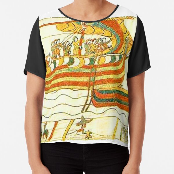 Bayeux Tapestry Viking Longship Normandy Art Chiffon Top