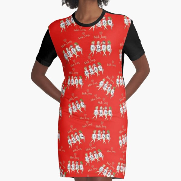 Mah Jong Four Winds Graphic T-Shirt Dress