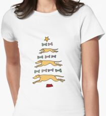 Fun Cool Greyhound Dog and Biscuits Christmas Tree Women's Fitted T-Shirt