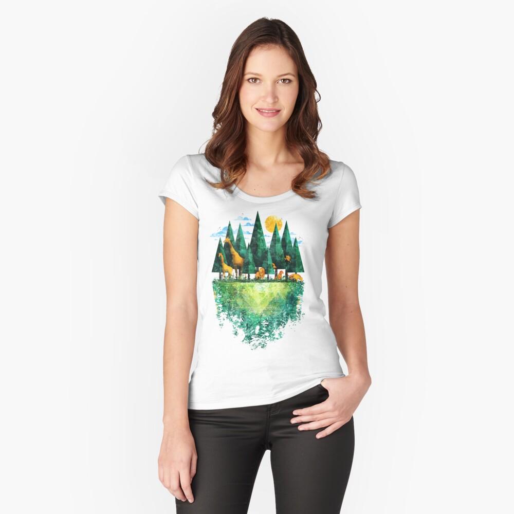 Geo Wald Tailliertes Rundhals-Shirt