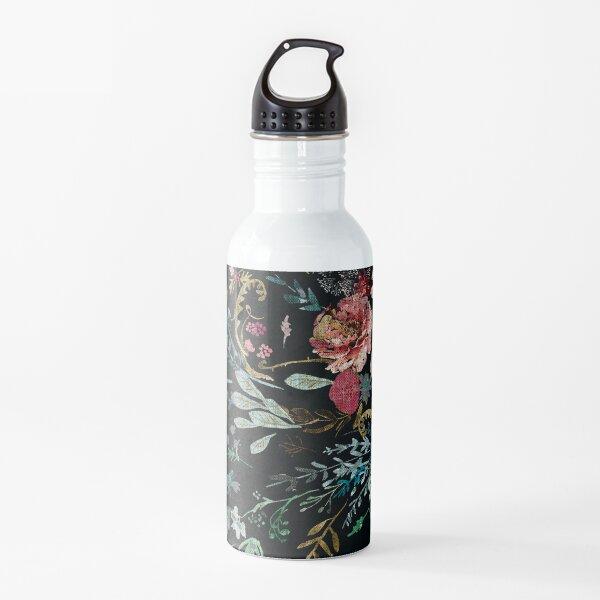 Floral de medianoche Botella de agua
