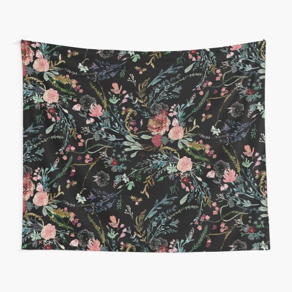 Midnight Floral Tapestry